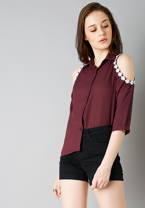 Lace Insert Cold Shoulder Shirt - Wine
