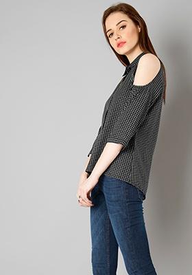 Grid Cold Shoulder Shirt