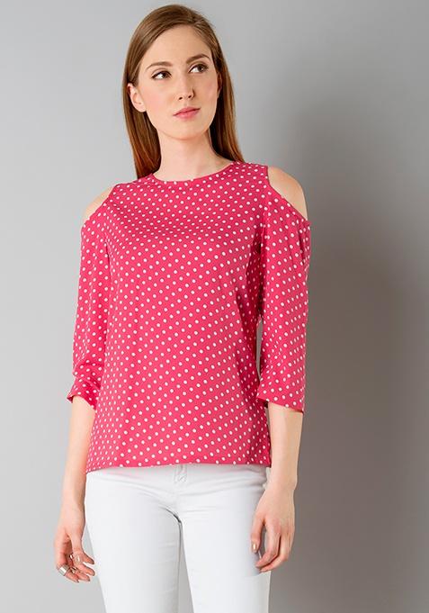 Pink Polka Cold Shoulder Top