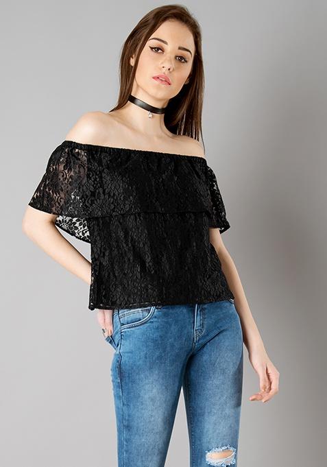 Off Shoulder Ruffled Lace Top - Black