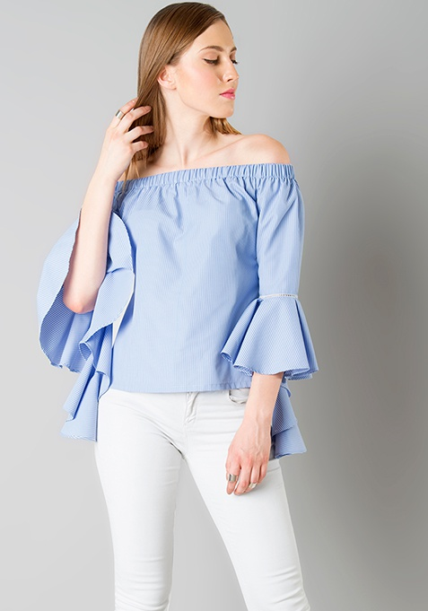 Off Shoulder Flutter Sleeve Top - Blue Stripes