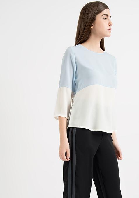 AlliaForFabAlley Color Blocked Top - Blue White