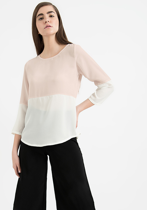 AlliaForFabAlley Color Blocked Top - Blush White