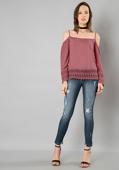 Dusty Pink Cold Shoulder Top