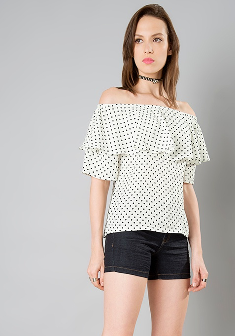 Off Shoulder Ruffle Top - Polka