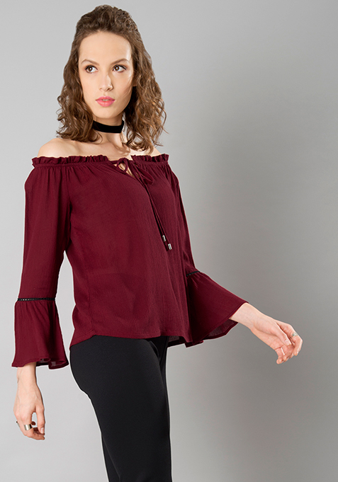 Lace Insert Bell Sleeve Top - Maroon