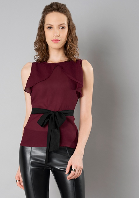 Belted Ruffled Top - Oxblood