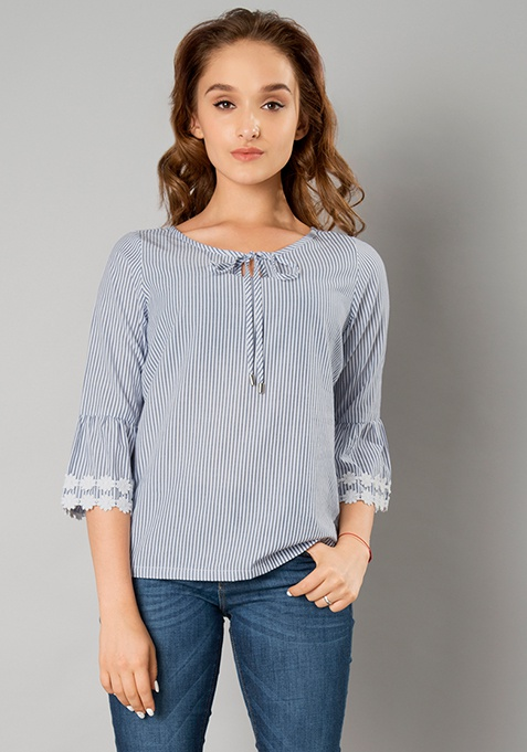 Tie Up Bell Sleeve Top - Blue Stripes