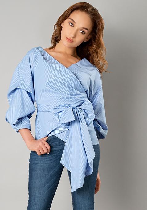 Wrap Around Layered Sleeve Top - Blue Stripes