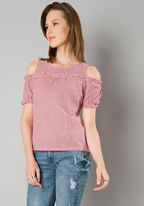 Frill Cold Shoulder Top - Red Gingham