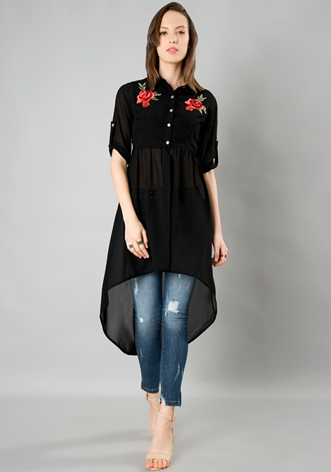 Embroidered Longline Shirt - Black