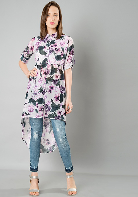 High Low Longline Shirt - Floral