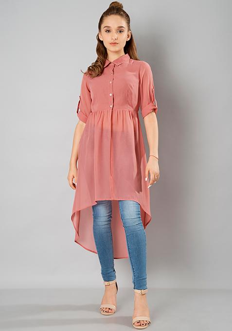 High Low Longline Shirt - Pink