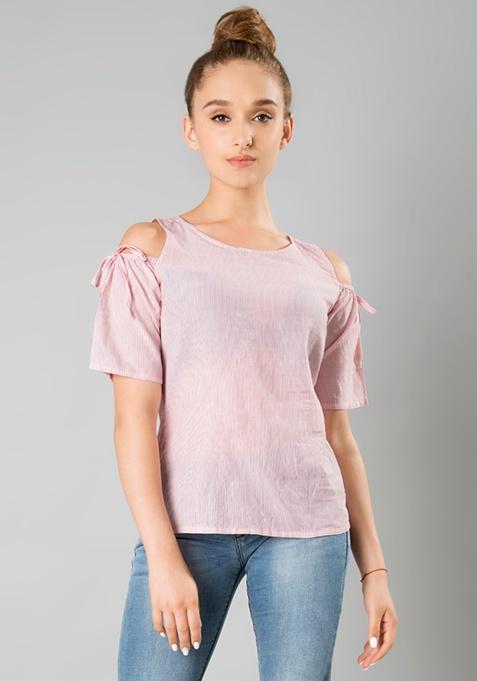 Cold Shoulder Top - Pink Stripes
