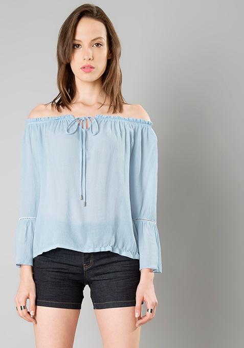 Lace Insert Bell Sleeve Top - Light Blue