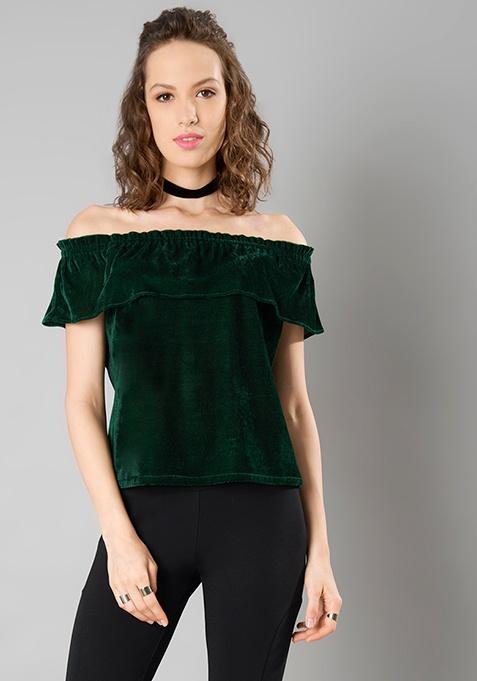 Off Shoulder Velvet Top - Dark Green
