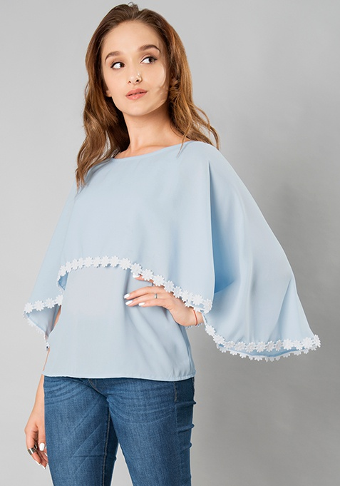 Layered Lace Cape Top - Dusty Blue