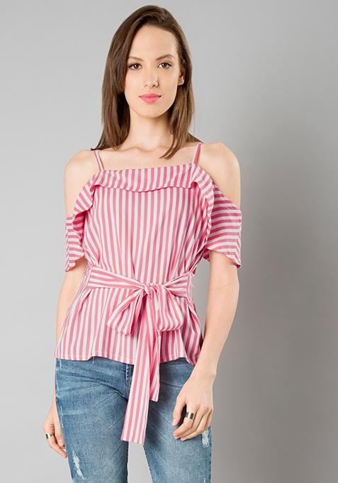 Belted Cold Shoulder Top - Stripes