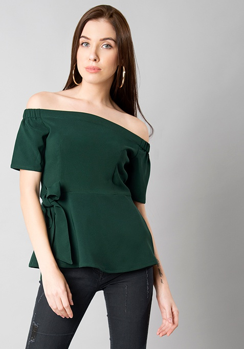Green Off Shoulder Peplum Top