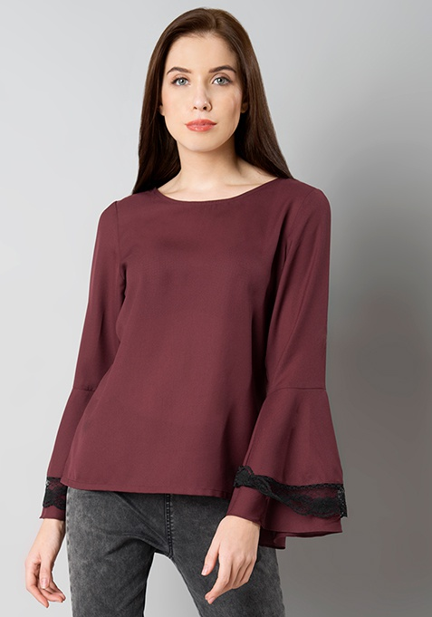 Wine Lace Insert Bell Sleeve Blouse