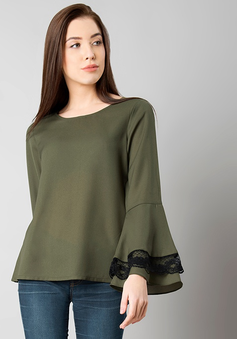 Olive Lace Insert Bell Sleeve Blouse