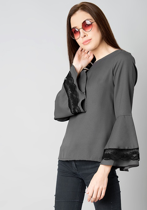 Grey Lace Insert Bell Sleeve Blouse