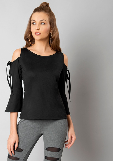Black Tie Up Cold Shoulder Top