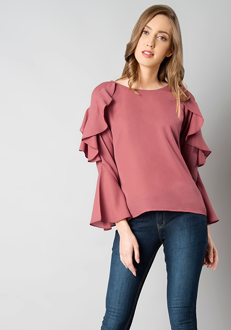 Dusty Pink Cascade Bell Sleeves Top