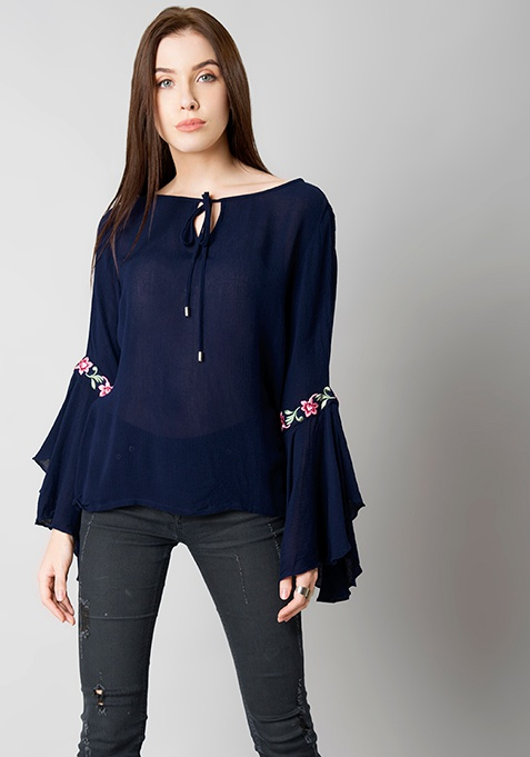 Navy Embroidered Flutter Sleeve Top