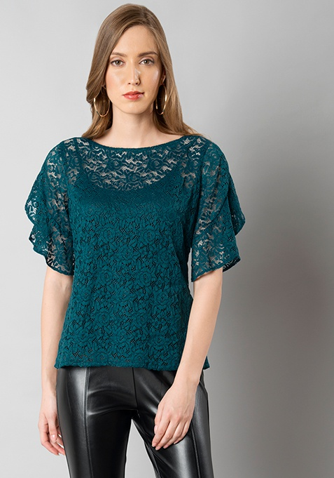 Teal Flared Sleeve Lace Top