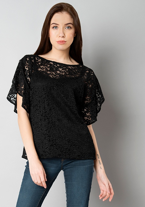 Flared Sleeve Lace Top - Black
