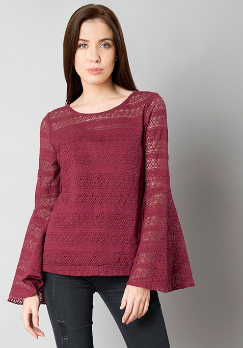 Lace Bell Sleeve Top - Maroon